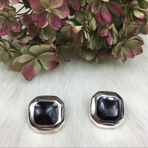 Vintage Mexico 925 Square Black Onyx Earrings